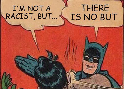 Meme aus dem Projekt ''Rassismus in Bildung'' mit Batman der Superman klatscht.