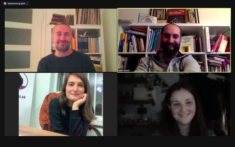 Bildschirmaufnahme der Zoom-Konferenz mit den Teilnehmer:innen des Projektes ''2 Länder - 1 Virus''